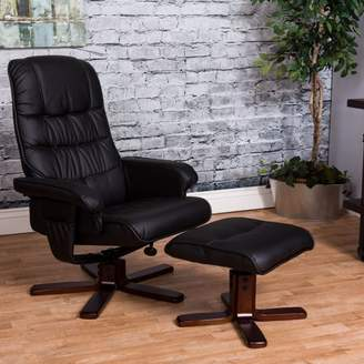 Vogue Furniture Direct High Back Manual Swivel Recliner with Ottoman-Black VF1541006