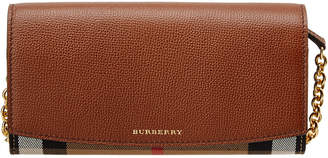Burberry Henley House Check & Leather Wallet With Chain