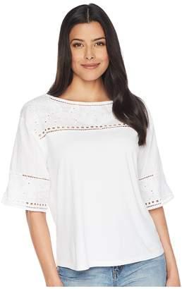 Lauren Ralph Lauren Eyelet Cotton-Blend T-Shirt Women's T Shirt