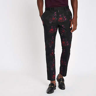 River Island Black floral skinny suit trousers