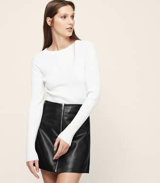 Reiss Annabelle Zip-Detail Leather Skirt