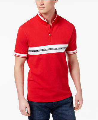 Armani Exchange Men's Logo Striped Zip Polo, Created for Macy's