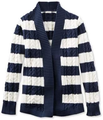 L.L. Bean L.L.Bean Double L Cotton Sweater, Open Cardigan Stripe
