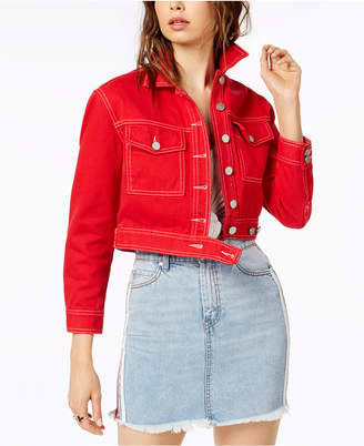 KENDALL + KYLIE Cropped Cotton Denim Jacket