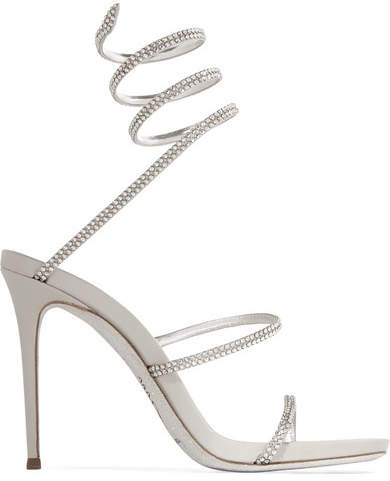 René Caovilla - Crystal-embellished Metallic Leather Sandals - Silver