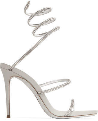 ... Rene Caovilla Crystal-embellished Metallic Leather Sandals - Silver