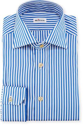 Kiton Bengal-Stripe Dress Shirt, Blue/White