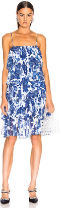 Caroline Constas Ruffle Tea Length Dress in Blue Multi | FWRD