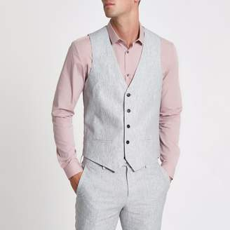 River Island Mens Grey linen stripe waistcoat