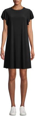 Neiman Marcus Flutter-Sleeve Jersey A-line Dress