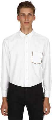 Burberry Slim Cotton Oxford Shirt W/ Check Detail