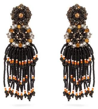 Etro Crystal And Bead Tassel Clip Earrings - Womens - Black