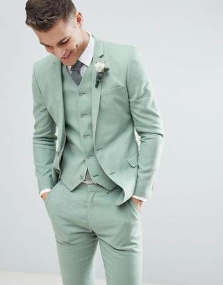 Asos DESIGN Wedding Super Skinny Suit Jacket In Sage Green Linen