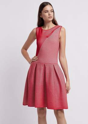 Emporio Armani Full Skirt Dress In Ottoman With Cut-Out On The Front