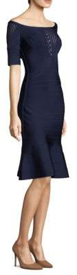 Herve Leger Illusion Flared Skirt Cocktail Dress