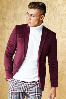 boohoo Velour Skinny Fit Suit Jacket