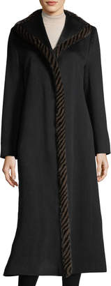 Fleurette Magnetic Wool Duster Coat w/ Spiral Mink Fur