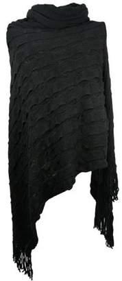 Nice & Great Women Turtleneck Pullover Poncho Lady Warm Winter Knitted Cape Sweater Fashion Soft Jumper Wrap Large Knit Shawl Jacket Elegant Cloak Neck Warmer, Black
