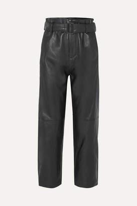 MM6 MAISON MARGIELA Belted Leather Straight-leg Pants - Black