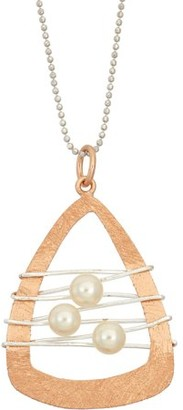 5th & Main 14kt Rose Gold-Plated and Sterling Silver Dream Catcher with Pearl Pendant Necklace