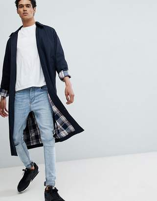 Asos DESIGN Oversized Trench Coat With Checked Lining In Navy