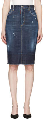 DSQUARED2 Blue Frayed Hem Skirt