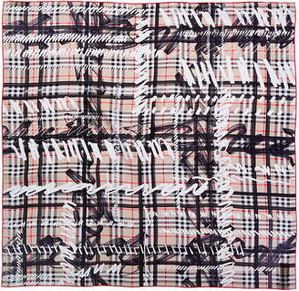 Burberry Scribble Check Print Silk Scarf