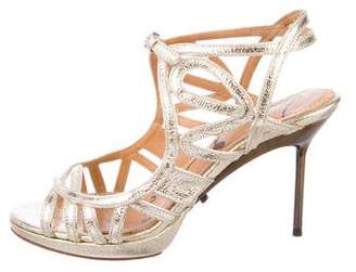 Lanvin Metallic Leather Cages Sandals
