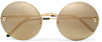 Cartier Eyewear - Panthère Round-frame Gold-plated Mirrored Sunglasses - one size