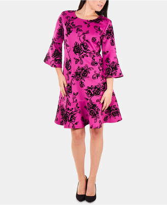 NY Collection Flocked Sheath Dress