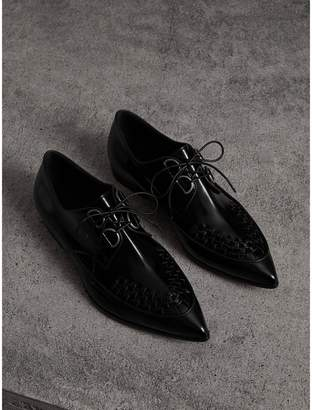 Burberry Woven-toe Polished Leather Derby Shoes