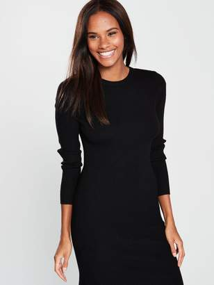 eec58be03c2 Very Skinny Rib Asymmetric Hem Knitted Dress - Black