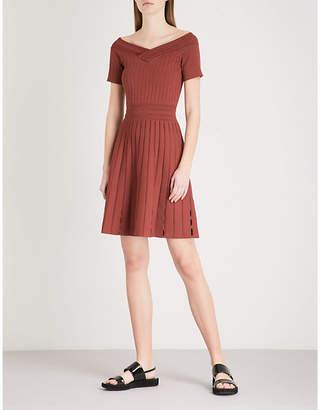 Sandro V-neck ribbed-knit mini dress