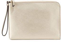 Neiman Marcus Large Saffiano Leather Charging Wristlet Clutch Bag