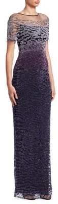 Pamella Roland Ombre Sequin Gown