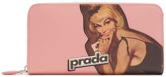 Prada Vintage-logo zip-around saffiano-leather wallet
