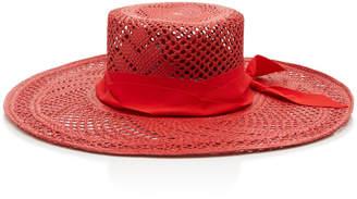 Sensi Studio Calado Grosgrain-Trimmed Straw Hat Size: S
