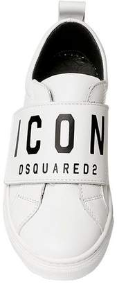 DSQUARED2 Icon Print Leather Strap Sneakers