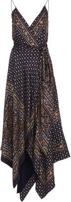 Jonathan Simkhai Asymmetric Printed Satin Wrap Dress Size: 0
