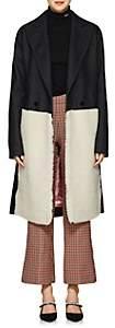 Cédric Charlier Women's Shearling-Inset Wool-Blend Coat - Blk, Ivry