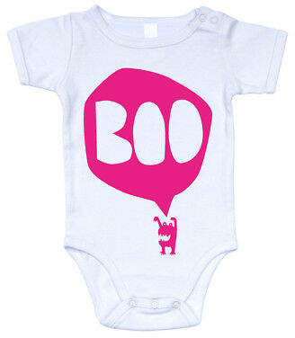 Freddy NEW BOO fluorescent pink on white onesie Girl's by Alphabet