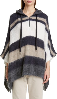 Brunello Cucinelli Hooded Stripe Poncho Sweater