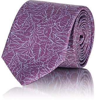 Barneys New York Men's Leaf-Print Silk Satin Necktie