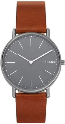 Skagen Signature Slim Two-Hand Titanium and Cognac Leather Watch