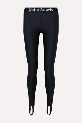 Palm Angels Jacquard-trimmed Stretch Leggings - Black