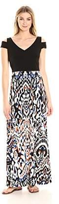 London Times Women's Cold Shoulder V Neck Jersey Maxi Dress