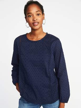 Old Navy Relaxed Clip-Dot Lace-Trim Blouse for Women