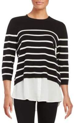 Zipper-Accent Striped Sweater
