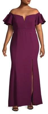 Xscape Evenings Plus Off-The-Shoulder Ruffle Gown