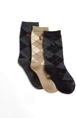 Ralph Lauren Boy's Three-Pair Slack Polo Player Socks